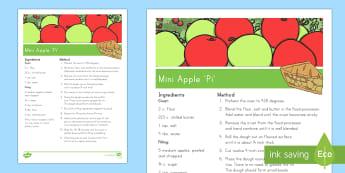Mini Apple 'Pi' Recipe - Pi, circumference, diameter