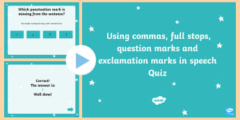 Using Commas Full Stops Question Marks and Exclamation Marks in Speech Quiz PowerPoint-Australia - Using Commas Full Stops Question Marks and Exclamation Marks in Speech Quiz  PowerPoint, grammar and