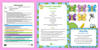 EYFS Caterpillar Crunch Busy Bag Plan and Resource Pack to Support Teaching on The Crunching Munching Caterpillar - The Crunching Munching Caterpillar, Sheridan Cain, life cycle of a butterfly, playdough, create, lan
