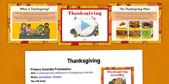 Thanksgiving Assembly Presentation and Script - thanksgiving, assembly, presentation, script