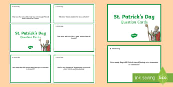 St. Patrick's Day Question Cards - World Around Us KS2 - Northern Ireland, St. Patrick, Saint Patrick,