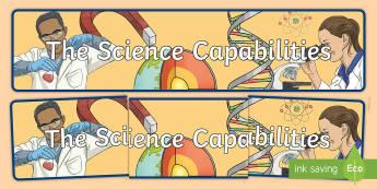 Science Capabilities Display Banner - New Zealand Science Capabilities, science, capabilities, primary school, observations, evidence, mak