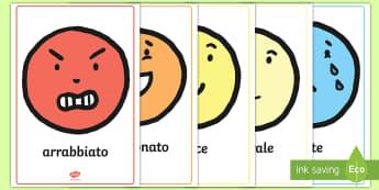 Le Emozioni Poster - le, emozioni, poster. A4, sentimenti, italiano, italian, materiale, scolastico