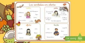 Tapiz de vocabulario: Los sentidos - Otoño - tapiz de vocabulario, vocabulario, otoño, sentidos, sentir, olfato, oído, tacto, vista, estación,