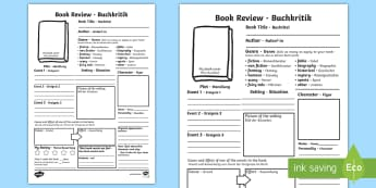 In Depth Book Review Writing Template English/German - In Depth Book Review Writing Template - reading, book review, books, book week, EAL, German, English