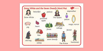 Snow White and the Seven Dwarfs Word Mat - Snow White and the Seven Dwarfs, Snow White, Dwarfs, Seven Dwarfs, traditional tale, word mat, writing aid, mat, tale, magic mirror, the queen, prince, forest, old hag, poisoned apple, kiss, asleep