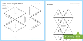 Rate of Reaction Tarsia Triangular Dominoes - Tarsia, gcse, chemistry, rate of reaction, reaction, chemical reaction, mass, grams, volume, concent