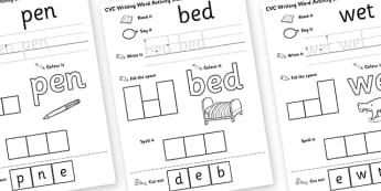 CVC Writing Word Activity Sheet Pack E - CVC, writing, word, activity, sheets, activity sheets, reading and writing, colouring, vowels, E, worksheet
