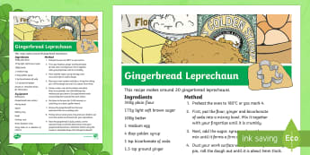 St. Patrick's Day Gingerbread Leprechaun Recipe - KS1 St Patrick's Day, St Patrick's Day, Saint Patrick's Day, baking, D.T, recipe, gingerbread, le