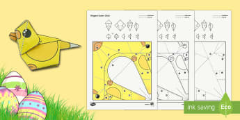 Simple Origami Easter Chick Paper Craft - Simple Origami Easter Chick Paper Craft , easter, easter craft, easter paper craft, easter chicks, e