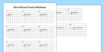 Short Division Practice Worksheet - short division, practice, worksheet, short, division