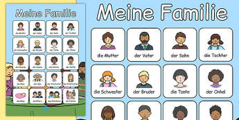Meine Familie Vocabulary Poster German - german, my family, vocabulary poster, vocabulary, poster, display
