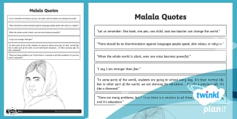 Malala Quotes Activity Sheet - People of Faith, Malala Yousafzai, education, girls, Quotes, worksheet