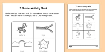 z Phonics Activity Sheet-Irish, worksheet