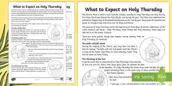 NI Catholic KS2 What to Expect on Holy Thursday Fact File -  - NI, Easter, Catholic, Holy Thursday, Eucharist, washing of the feet, Holy Communion, Holy Week