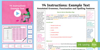 Y4 Instructions Model/Example Text - Example Texts Y4, exemplification, moderating, moderation, wagoll, SATs, non-fiction, sample, genre, ARE, age-related example, model, model text, age-related model