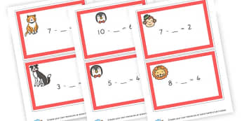 subtraction cards - display lettering - Subtraction Worksheets Primary Resources - Minus, Less, Calculate