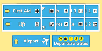 Airport Role Play Signs - Airport, role play, roleplay, holidays, holiday, flight, timetable, airports, plane, jet, arrivals, departures, pilot, summer, sun, sand