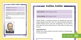 Galileo Galilei Significant Individual Fact File - famous, solar system, scientist, planets, stars, sun, rotate, Jupiter, move, around, circle, Italy,