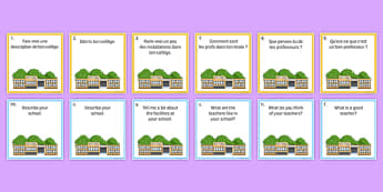 General Conversation Question Pair Cards Life at School College - french, Conversation, Speaking, Questions, School, College, école, Collège, Scolaire, Professeurs, Teachers, Uniform, Uniforme, Rules, Règles, Règlement, Journée, Cards, Cartes