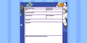 Space Themed Adult Led Focus Planning Template - plans, activity