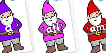 Foundation Stage 2 Keywords on Gnomes - FS2, CLL, keywords, Communication language and literacy,  Display, Key words, high frequency words, foundation stage literacy, DfES Letters and Sounds, Letters and Sounds, spelling