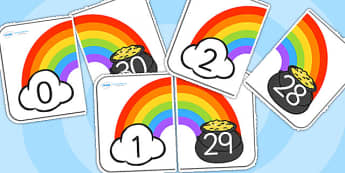 Rainbow and Pot of Gold Number Bonds to 30-number bonds, number bonds to 30, themed number bonds, 0-30, rainbow, pot of gold, numeracy, math
