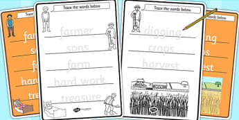 The Farmer and His Sons Trace the Words Worksheets - motor skills