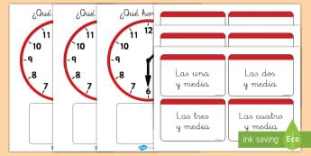 Juego: Emparejar la hora - Y media - juego, emparejar, parejas, la hora, el tiempo, y media, hora y media, reloj, relojes, analógico, an