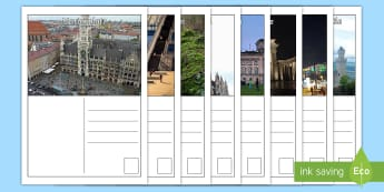 Germany Postcards - CfE Social Studies resources, writing, creating texts, German, landmarks, tourism, tourists, SOC, LI