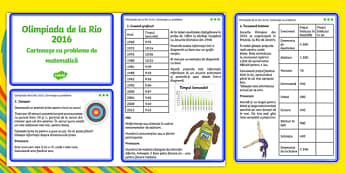 The Olympics Rio 2016 UKS2 Maths Challenge Cards Romanian - romanian, KS2 Maths, Olympics, Rio, sevens, rugby, target, archery, tickets, halving, olympic torch