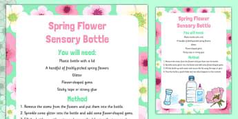 Spring Flower Sensory Bottle - spring, flowers, eyfs, sensory bottle, sensory, bottle