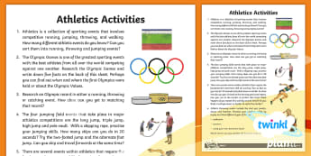 PlanIt - PE Year 5 - Athletics Home Learning Tasks - PE, PlanIt, Y5, Athletics, throwing, jumping, skipping, running, walking, events, triple jump, long