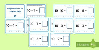 Karty z wyzwaniami Odejmowanie od 10 - różnica, odejmij, odejmować, odjąć, matematyka, liczby,Polish