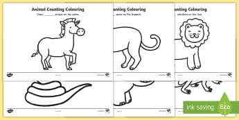 Safari Animal Patterns Counting and Colouring Sheets - safari, safari animals,safari colouring sheets, safari counting sheets, safari numeracy, counting