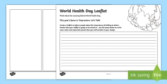 World Health Day Design a Leaflet Activity Sheet - CfE World Health Day April 7th, depression, talking, helping others, mental health, Scottish