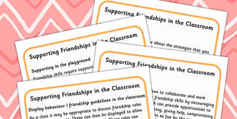 Supporting Friendships In The Classroom - friendship, classroom