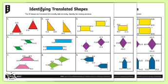 2D Shape Coordinate Translations Differentiated Activity Sheets - Position and Direction, coordinates, translation