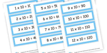 10 x table cards - Times Tables Primary Resources, multiply, times, number of, games, Times, Table, Tabe