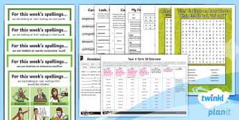 PlanIt Y4 Term 1B Bumper Spelling Pack - Spelling Packs Y4, Year 4, Y4, spelling, lists, weeks, long term, medium term, overview, bumper pack