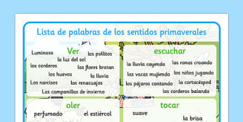 Spring Themed Senses Word Mat Spanish - EAL, translated, springtime, science, nature