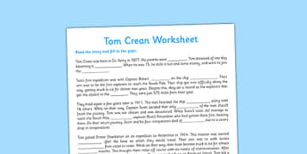 Tom Crean Cloze Procedure Worksheet - Tom Crean, Irish History, South Pole, Antarctica, cloze procedure, worksheet