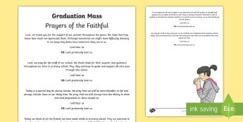 Graduation Mass Prayers of the Faithful Print-Out - prayers, faithful, mass, graduation, grad, sixth class, Ceremony ,Irish