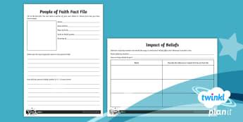 PlanIt - RE Year 4 - People of Faith Home Learning Tasks - People of Faith, Beliefs, Faith, religion, behaviour, impact