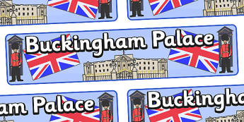 Buckingham Palace Display Banner - Buckingham Palace, London, display, banner, sign, poster, Queen, sentry, Great Britain