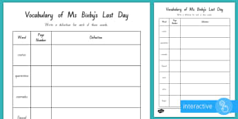 Vocabulary to Page 48 Go Respond Activity Sheet to Support Teaching on Ms Bixby's Last Day - New Zealand Chapter Chat, Chapter Chat NZ, Chapter Chat, Ms Bixby's Last Day, Worksheet, vocabulary