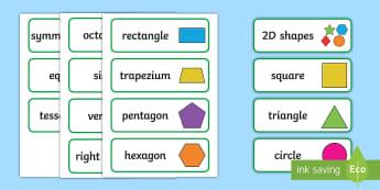Shape Word Cards - NI, KS1, Numeracy, vocabulary, creative writing, display