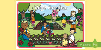 Vege Garden Display Poster - tidy kiwi, New Zealand, rubbish, recycling, Years 1-6, veges, vegetables