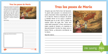 Ficha de actividad: El diario de María Ficha de actividad - prehistoria, Paleolítico, pinturas rupestres, ciencias sociales, arqueólogo, arqueología, arte ru