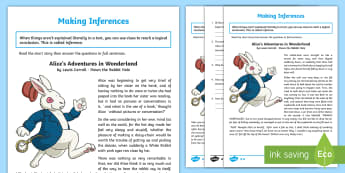 Alice's Adventures in Wonderland. Inference Activity Sheet - alice's adventures in wonderland, inference, reading, comprehension, worksheet, Y6, activity sheet,
